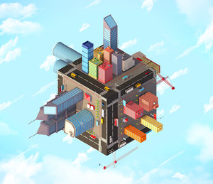 3D buildings city cube model