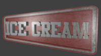3D ice cream sign