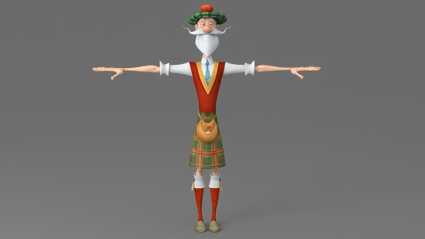 old man cartoon 3D
