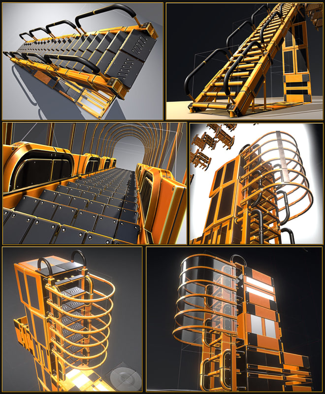 3D sci-fi ladders stairs floor model