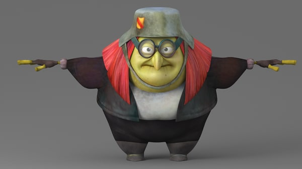 3D model fat cartoon