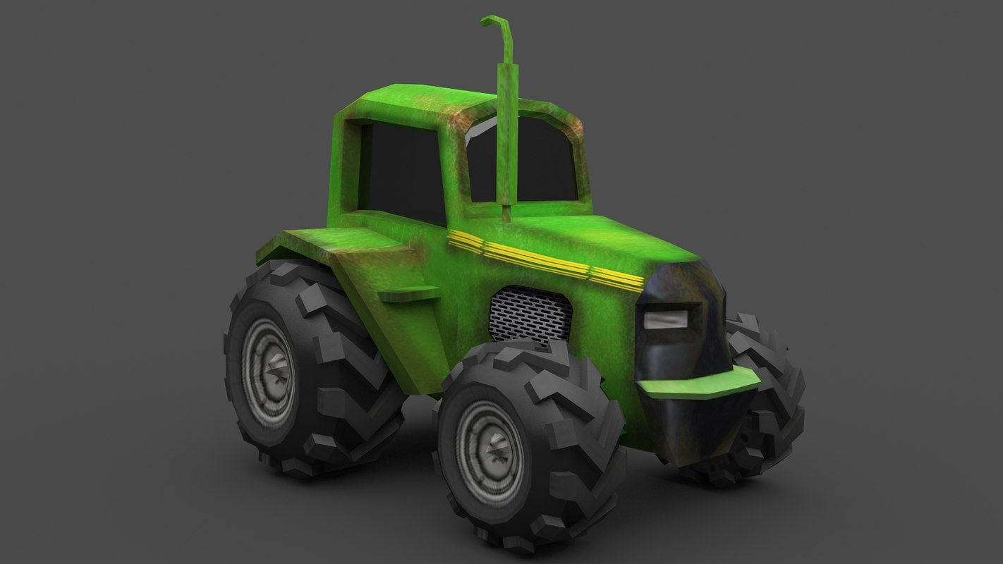 3D tractor old rusty model