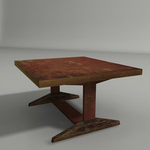 3D old coffee table