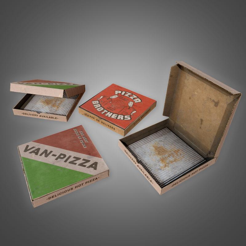 3D pizza box set -