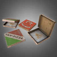 3D pizza box set -
