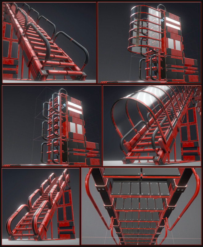 3D model sci-fi ladders stairs red glass