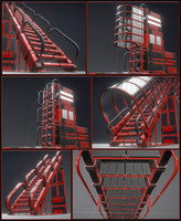 Sci-Fi Ladders and Stairs Red