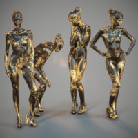 4 statues girls gold model