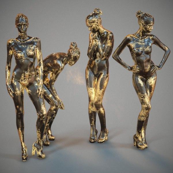 4 statues girls gold model