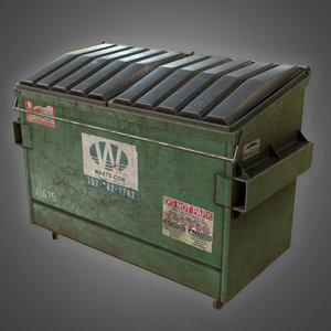 3D dumpster 01 - pbr