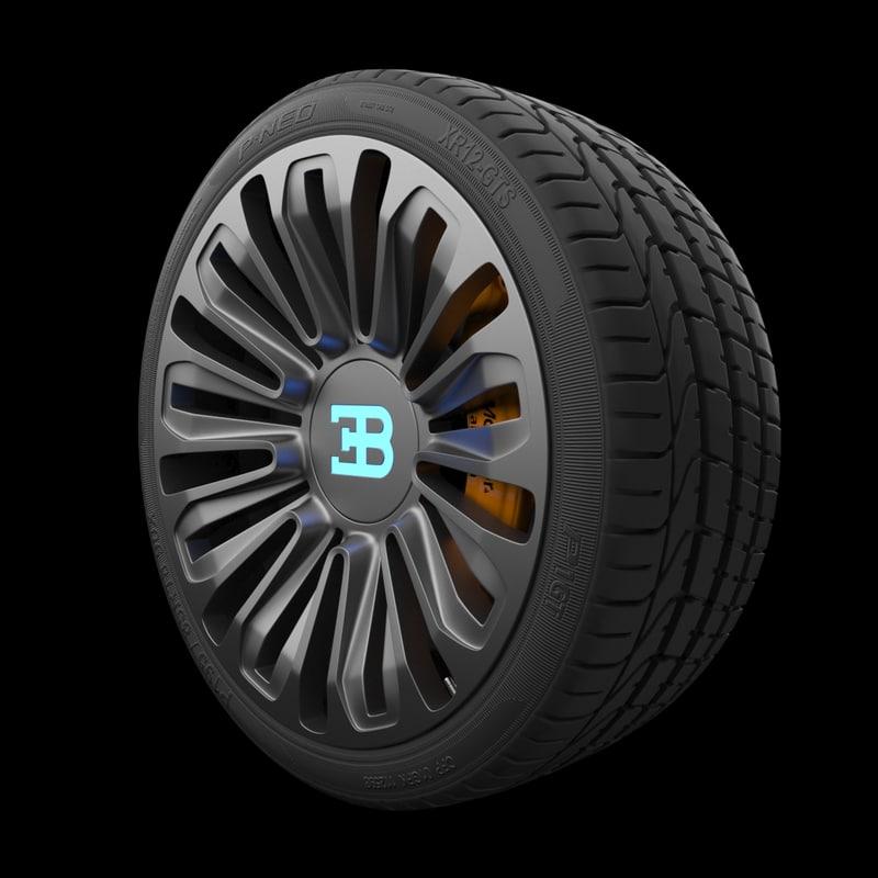 3D bugatti galibier rim tire model