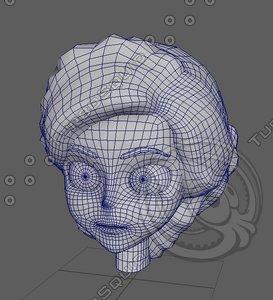 3D head uv animation model