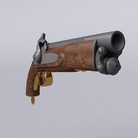 antique british pistol 3D model