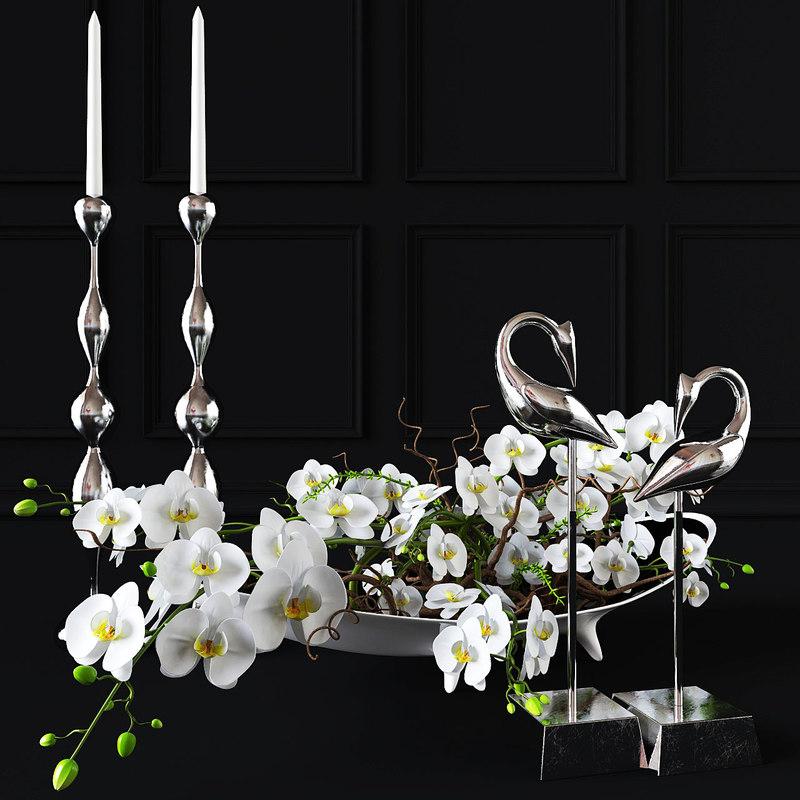 3D model orchid decor set