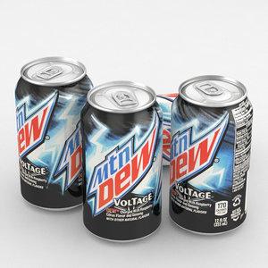 3D beverage mountain dew voltage
