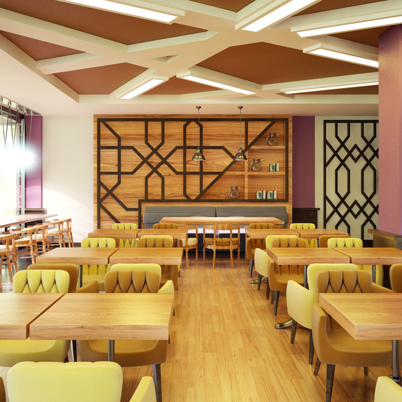 3D cafe interior model