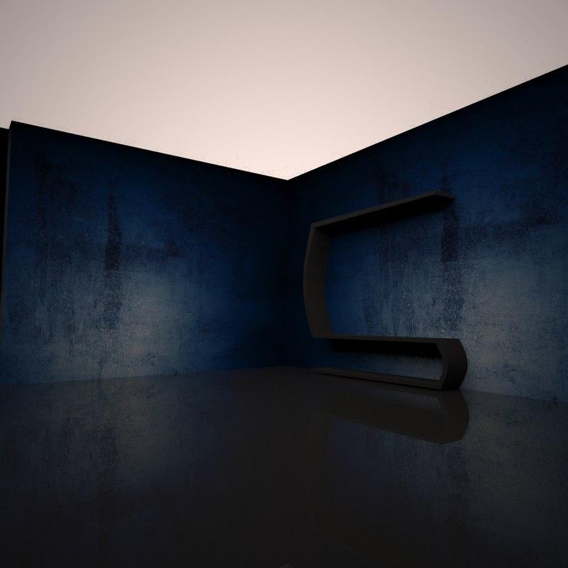 3D tv shelf model