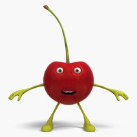 3D model cherry cartoon