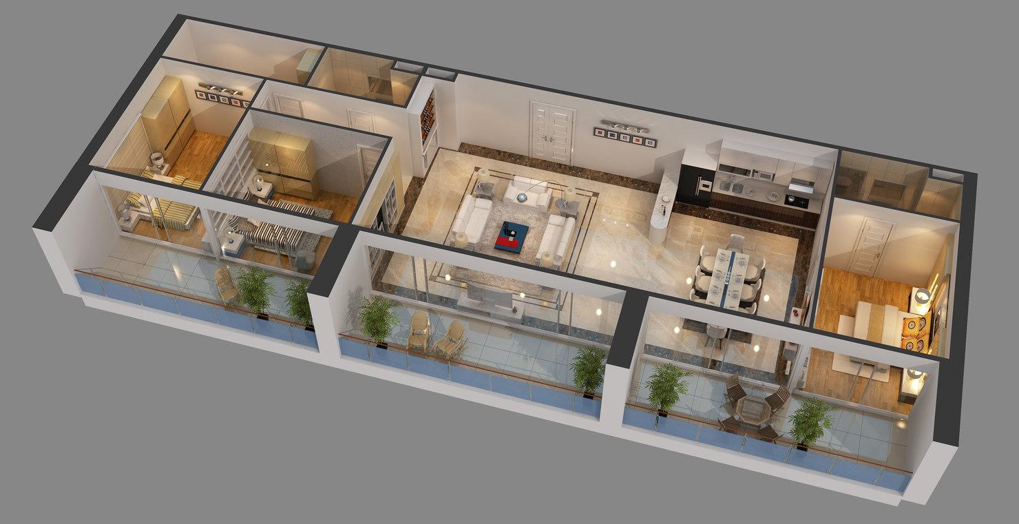 Charming Cutaway Apartment Furnitures 3D Model