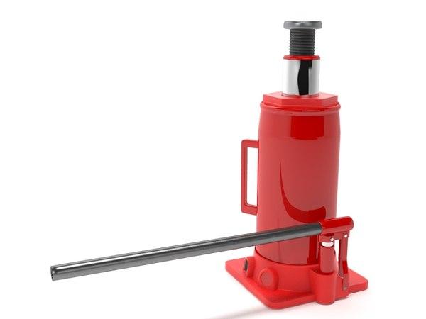 3D bottle jack red model