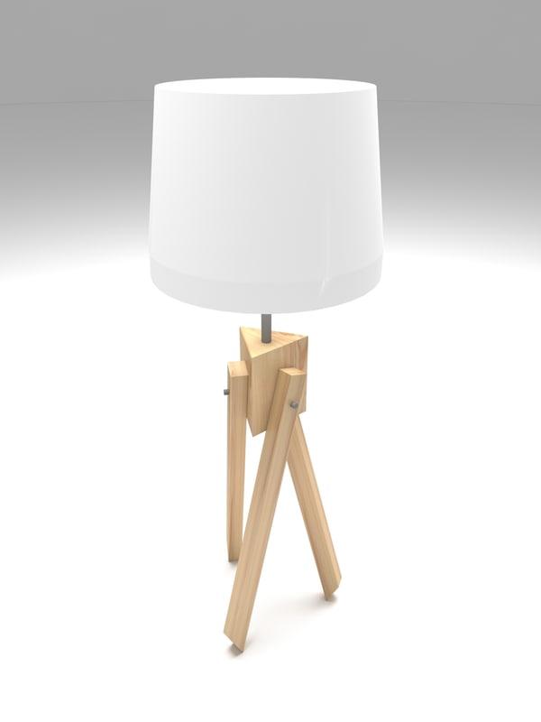 3D model wooden tripod desk lamp