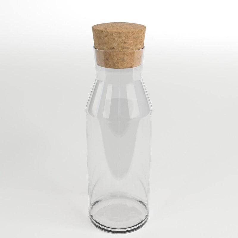 3D glass caraffe cork
