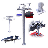 3D model ski lift cableway car