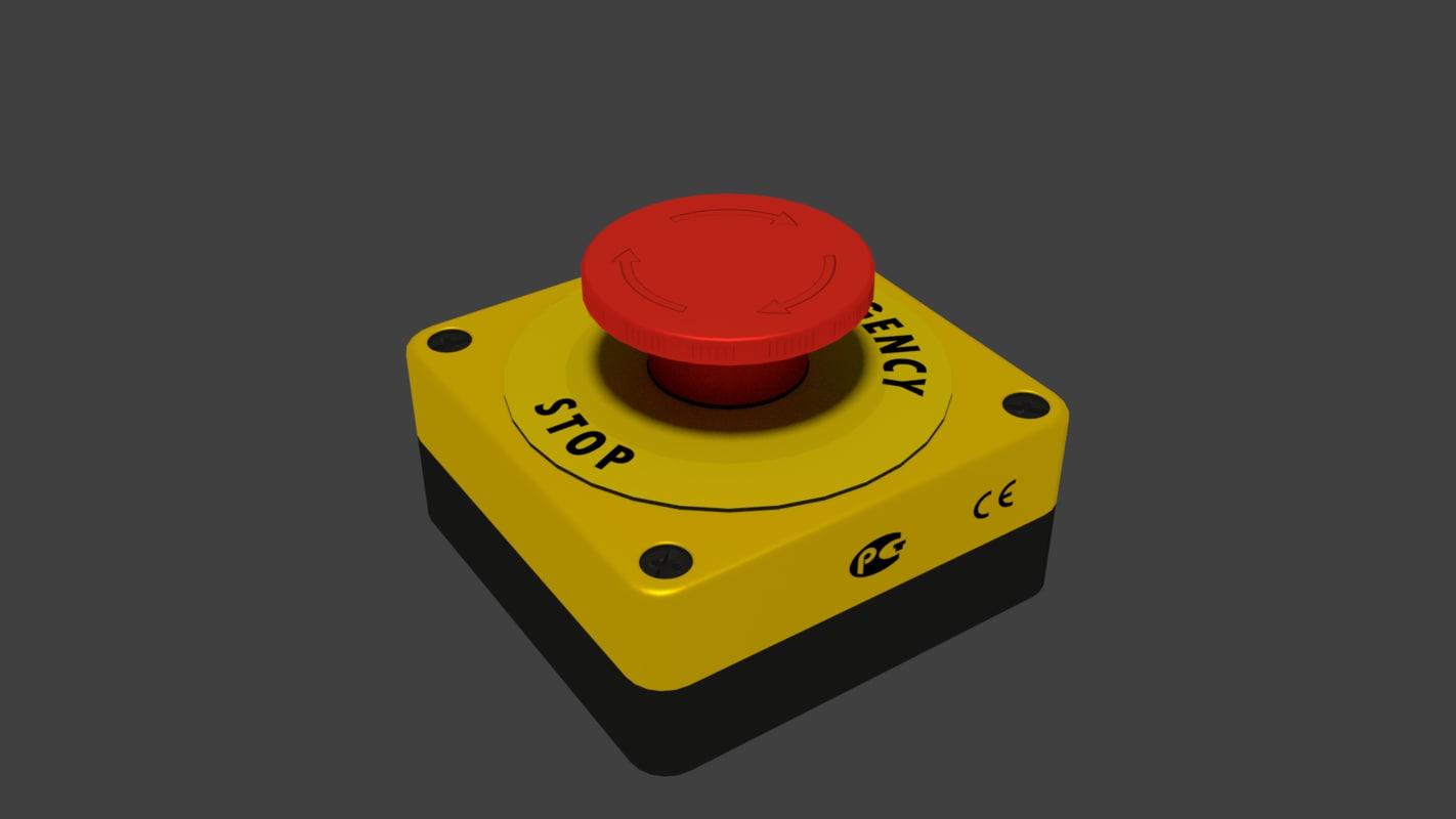 industry emergency stop button 3D model