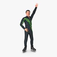 3D male figure skater rigged model