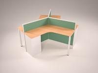3D triple desk model