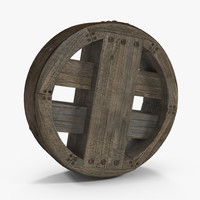antique wooden wheel model