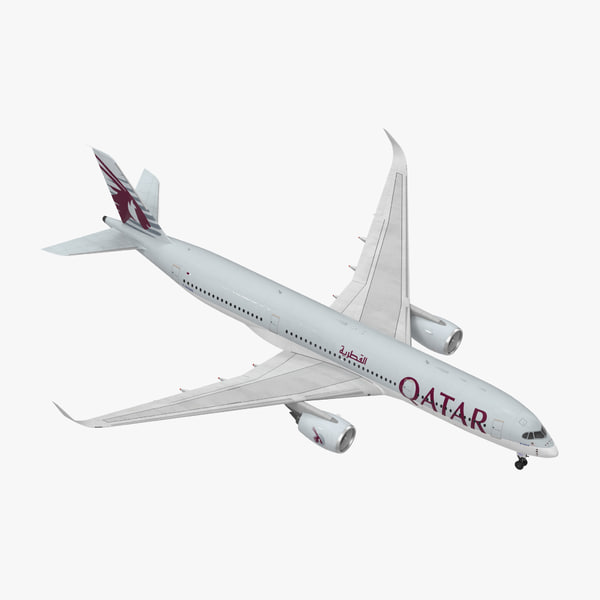 airbus a350-900 qatar rigged 3D model