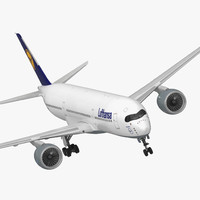3D airbus a350-900 lufthansa rigged model