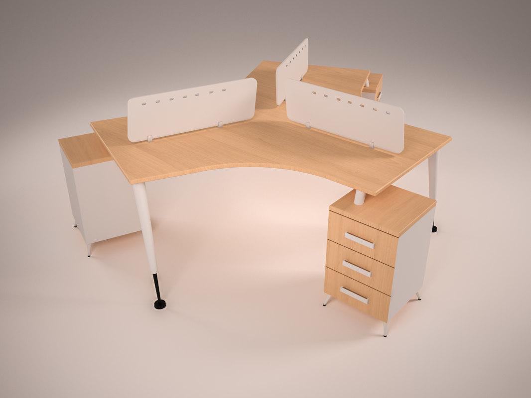 3D triple desk | 1148707 | TurboSquid