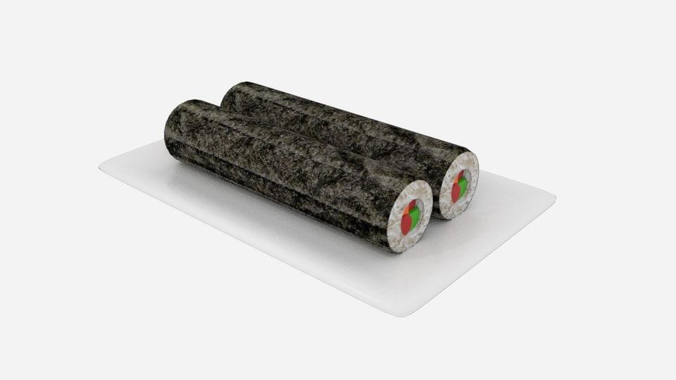 3D sushi roll long model