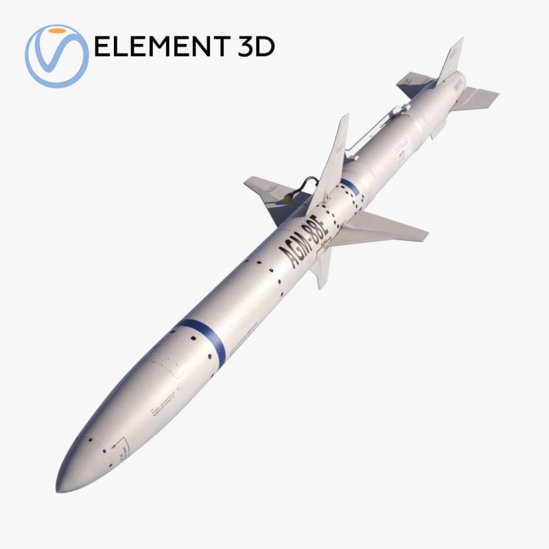 3D model missile agm-88 harm