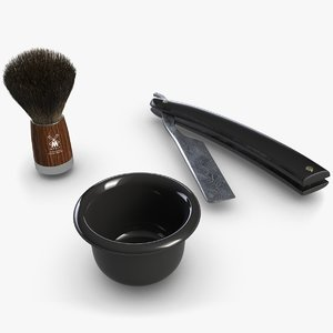 3D straight razor set model