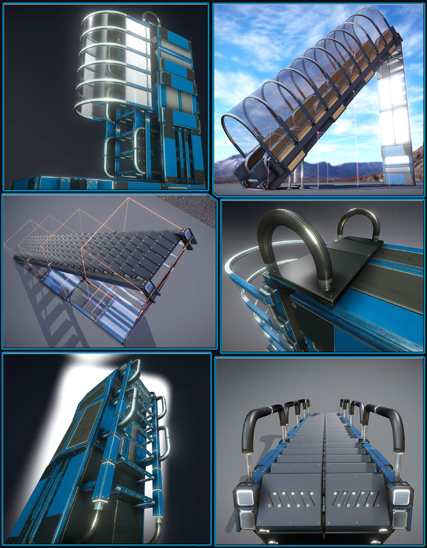 sci-fi ladders stairs blue glass model