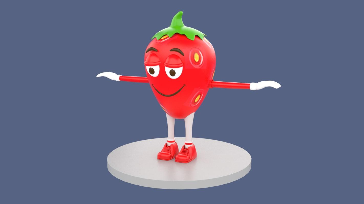 strawberry guy mascot 3D model