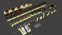 3D asset modular fort walls