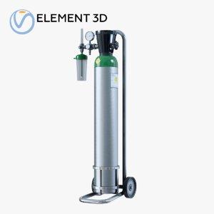 3D medical oxygen cylinder model