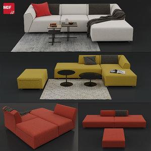 sofa thea mdf italia 3D model