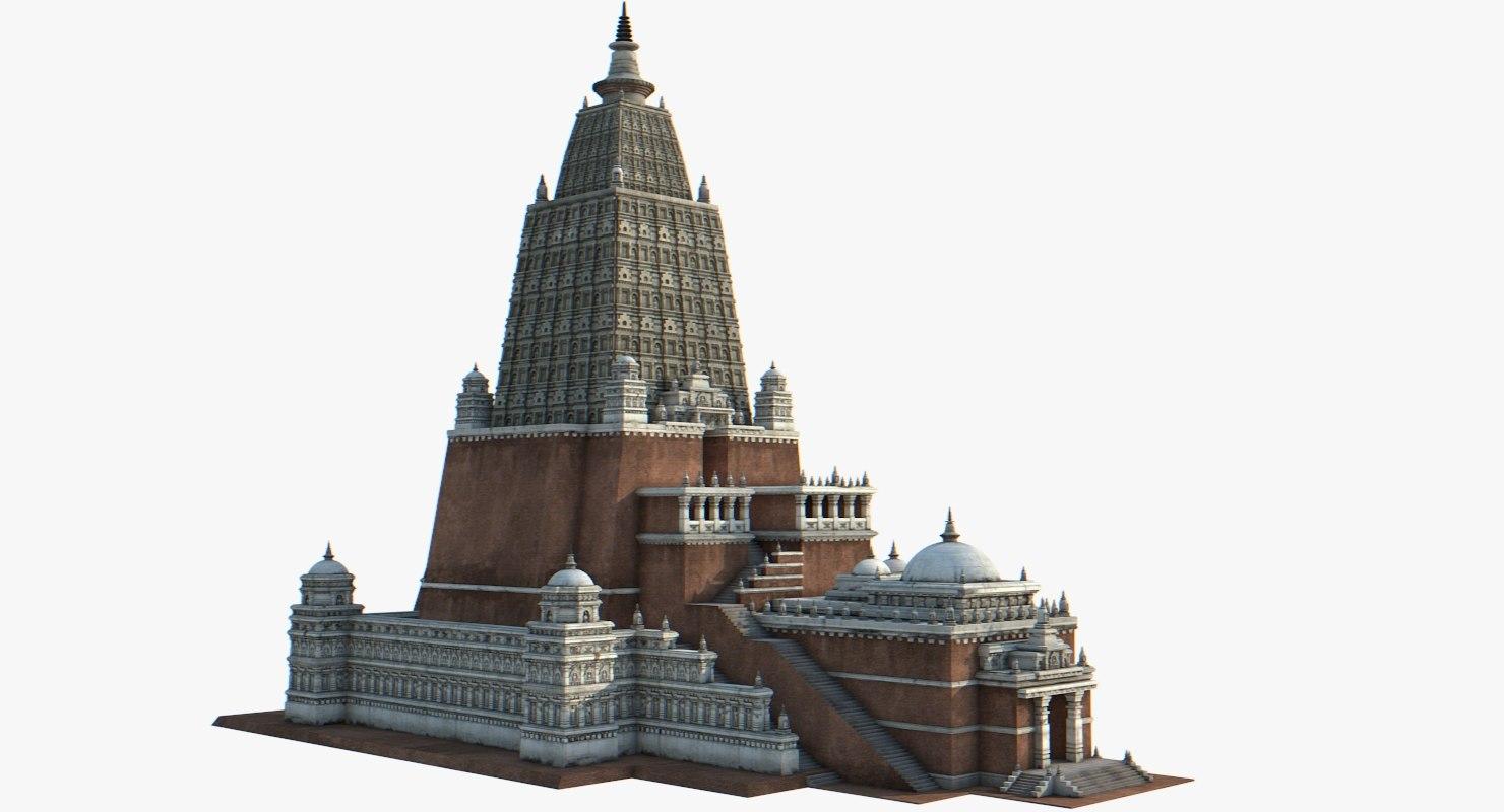 3D nalanda buddhist pagoda