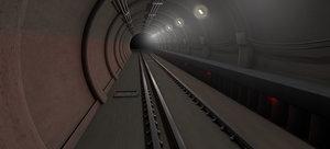 dark train tunnel 3D model