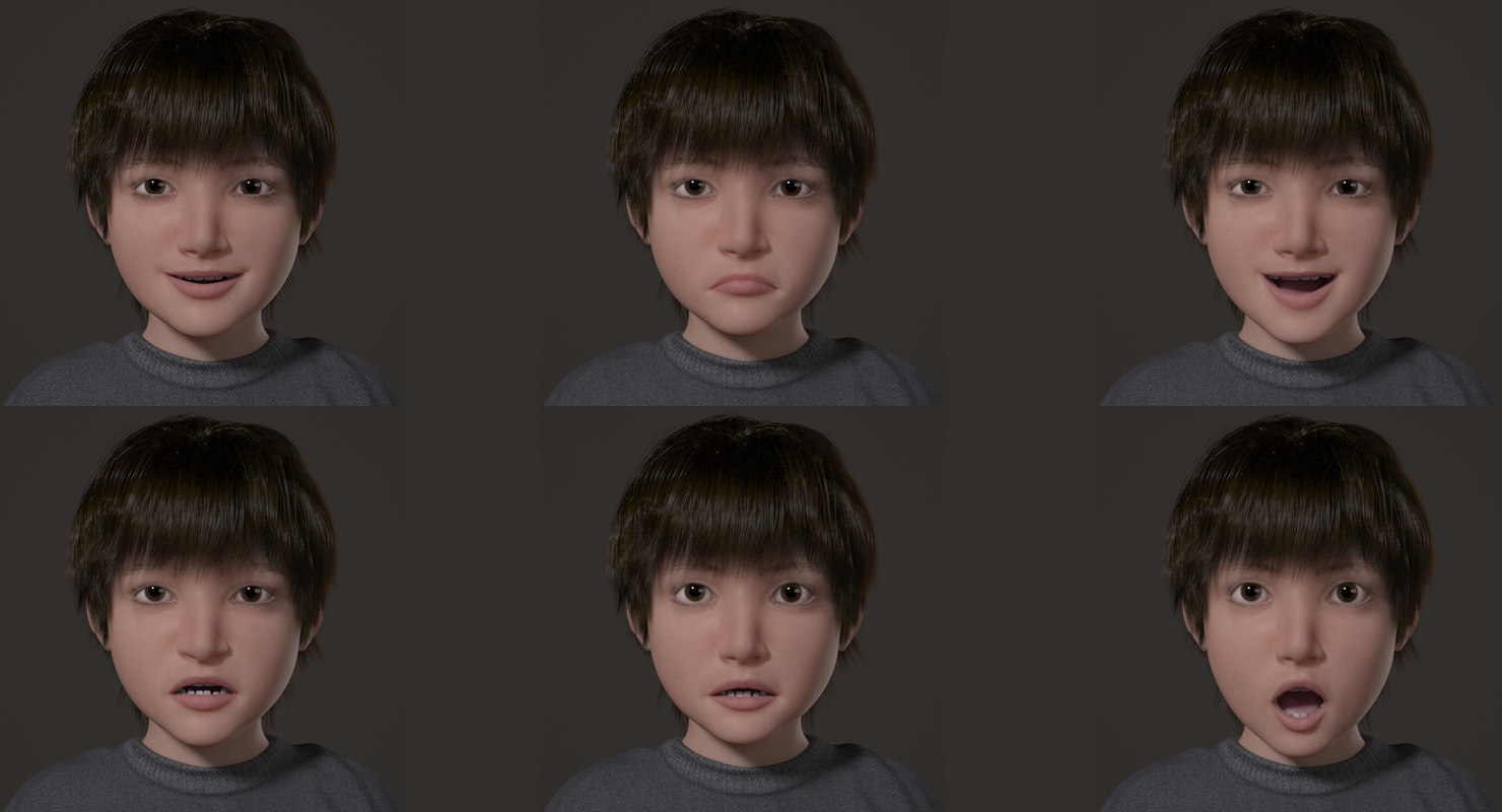 liitle boy face expressions 3d model rigged