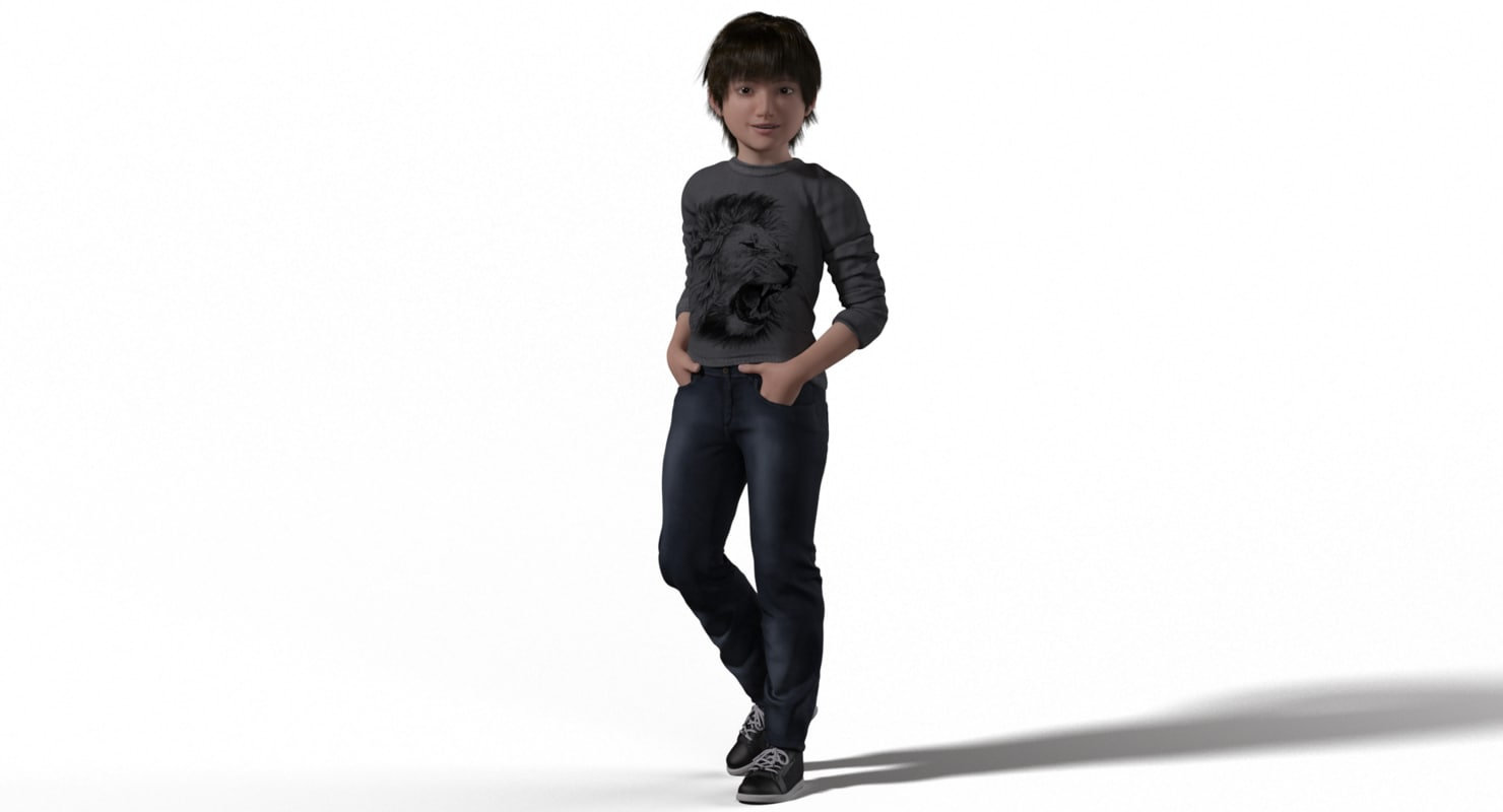 realistic little boy rigged character 3d model