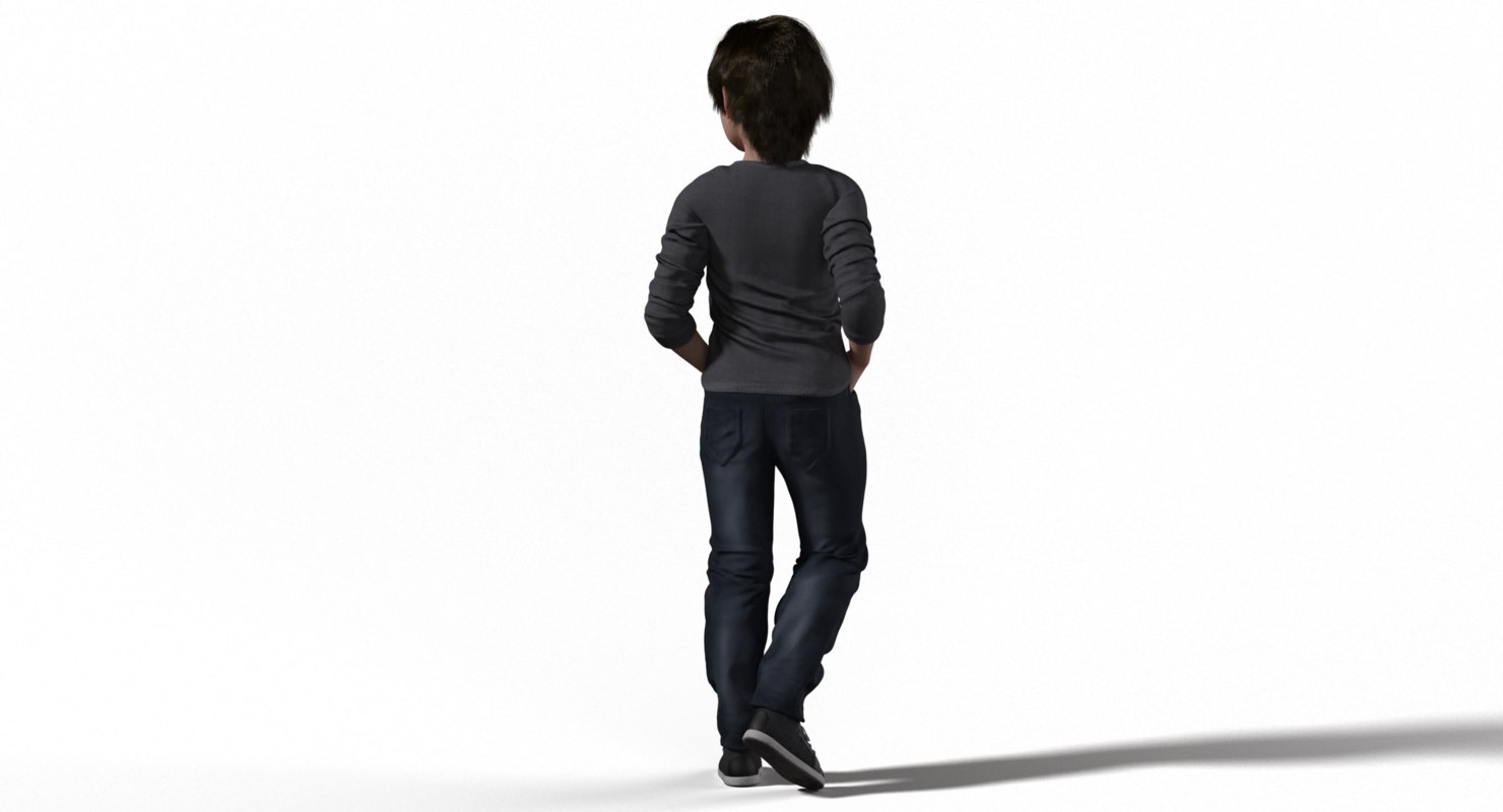 kid character wearing every day clothes 3d model rigged
