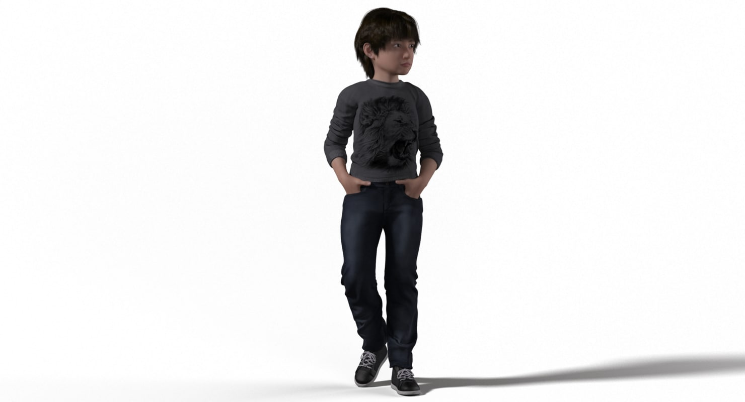 child with casual clothes 3d model rigged
