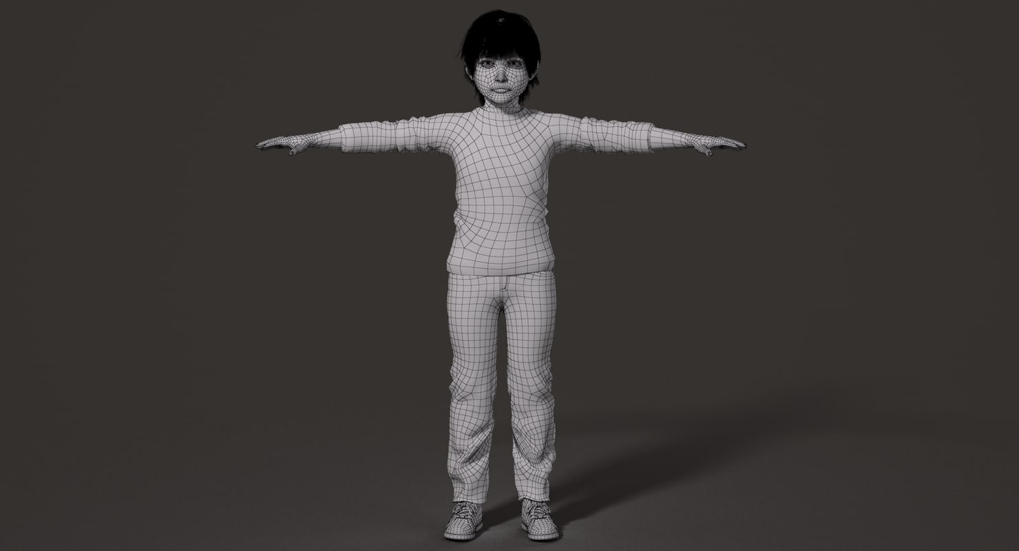 small boy wireframe vray 3d model rigged