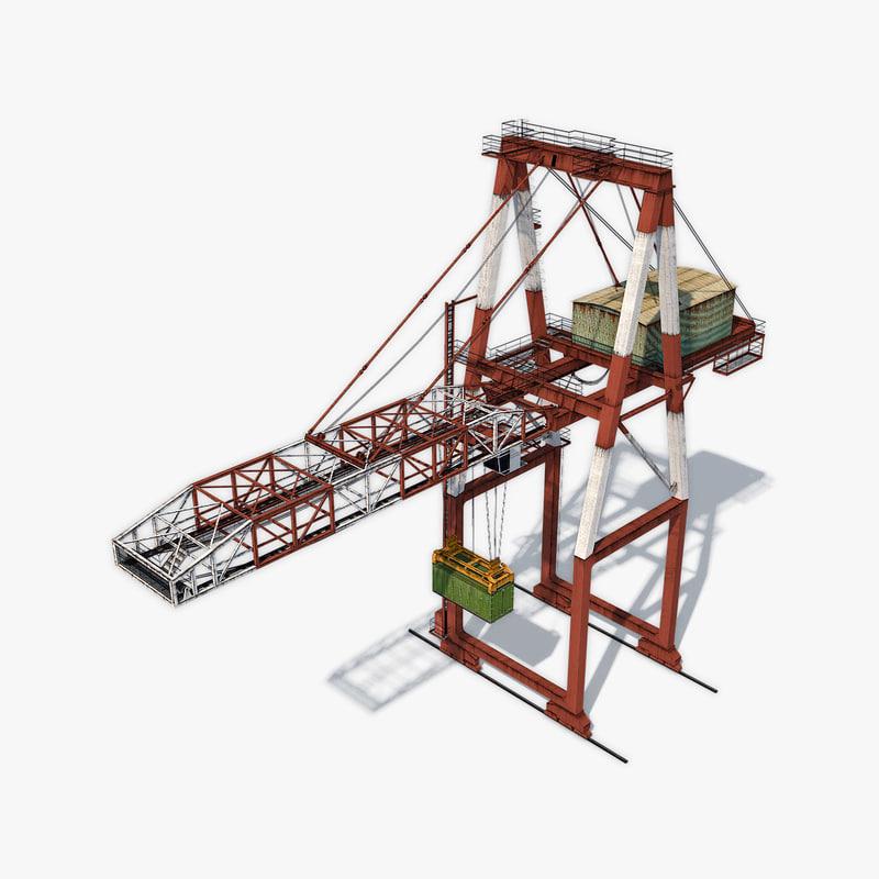 3D port container crane model